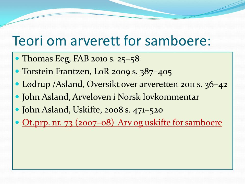Teori om arverett for samboere: