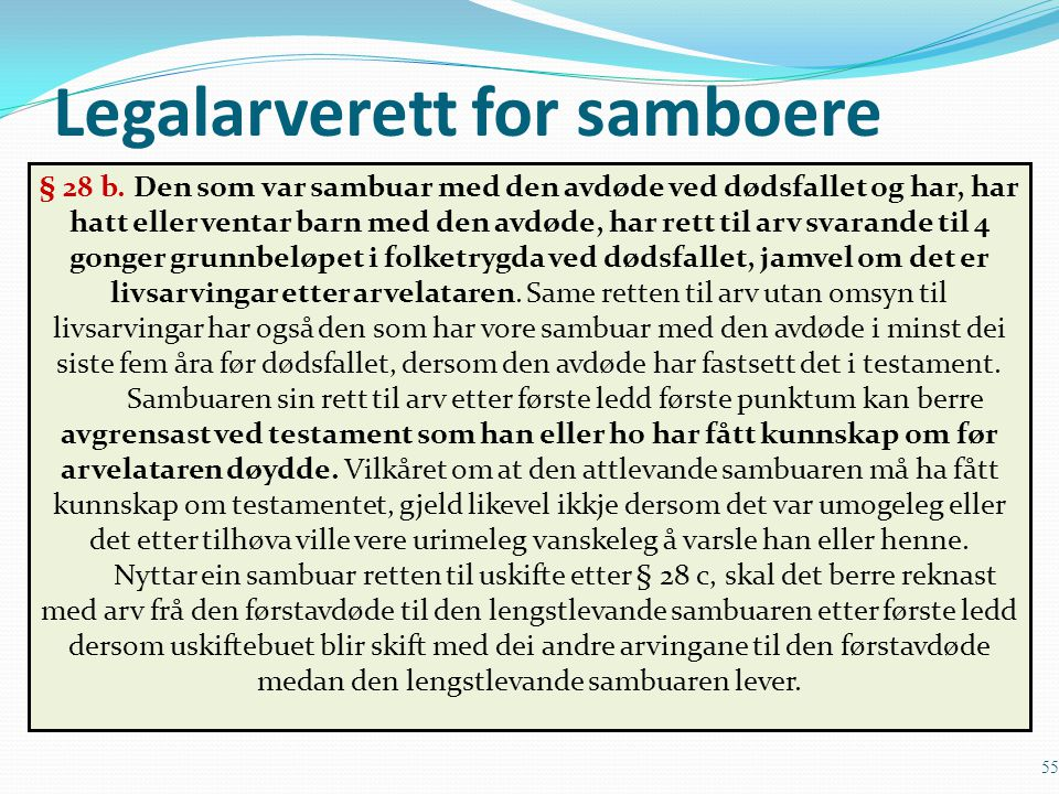 Legalarverett for samboere