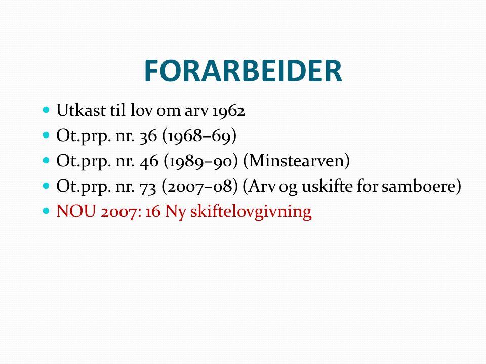 FORARBEIDER Utkast til lov om arv 1962 Ot.prp. nr. 36 (1968–69)