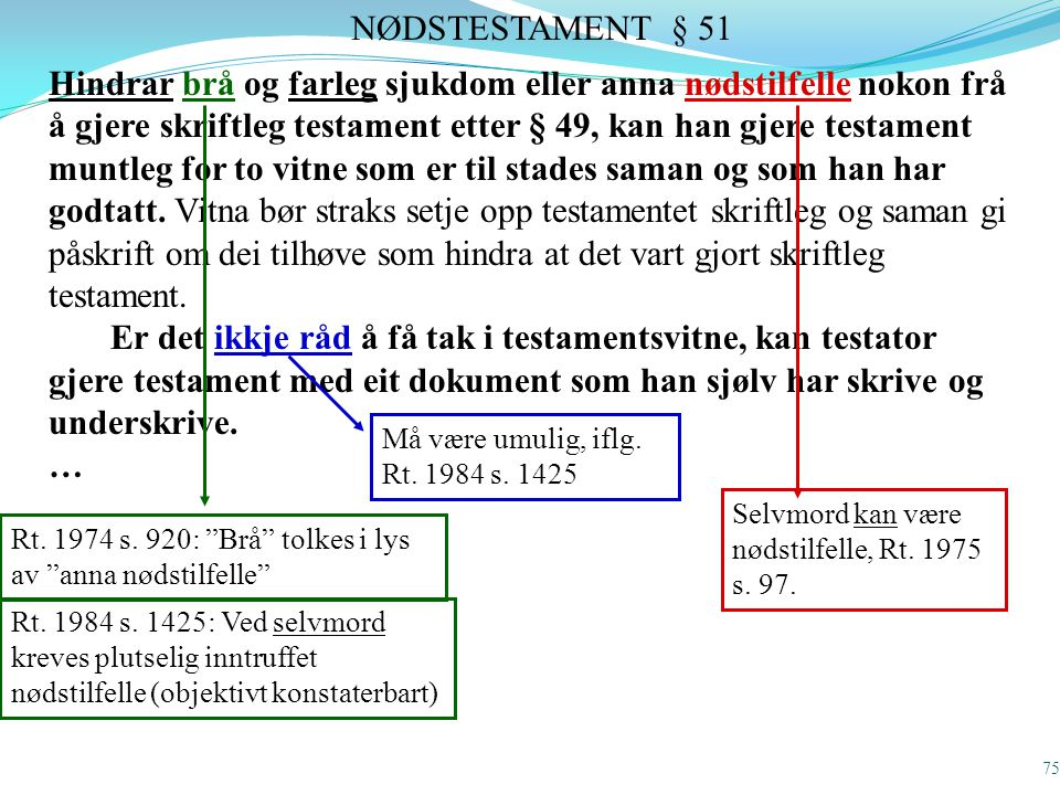 NØDSTESTAMENT § 51