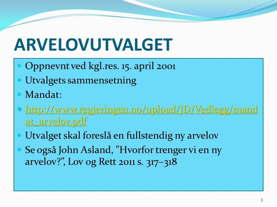 ARVELOVUTVALGET Oppnevnt ved kgl.res. 15. april 2001
