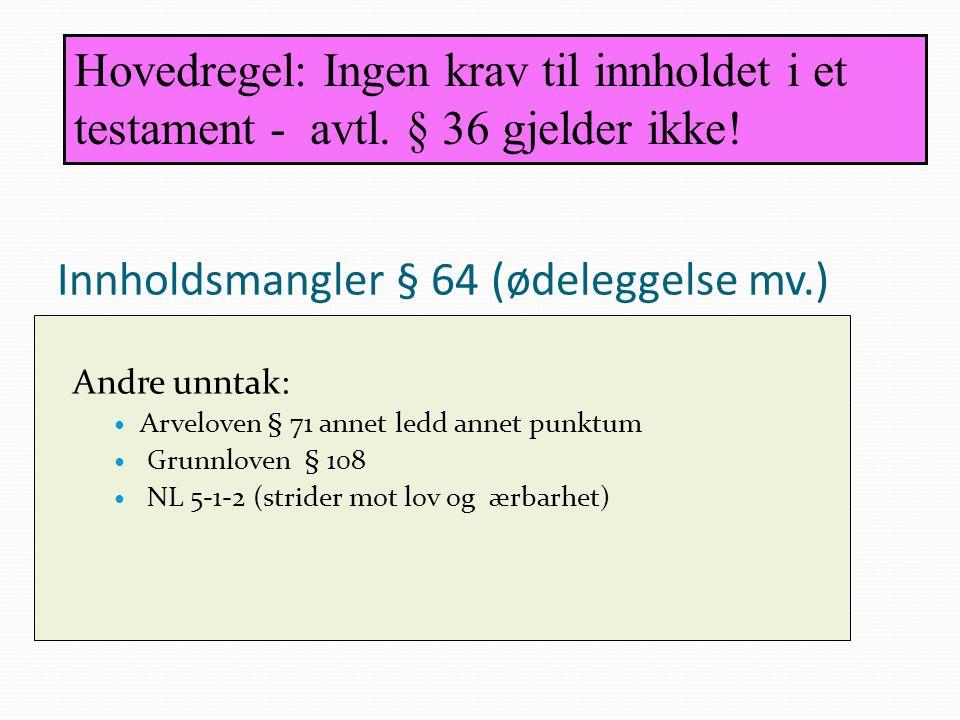 Innholdsmangler § 64 (ødeleggelse mv.)