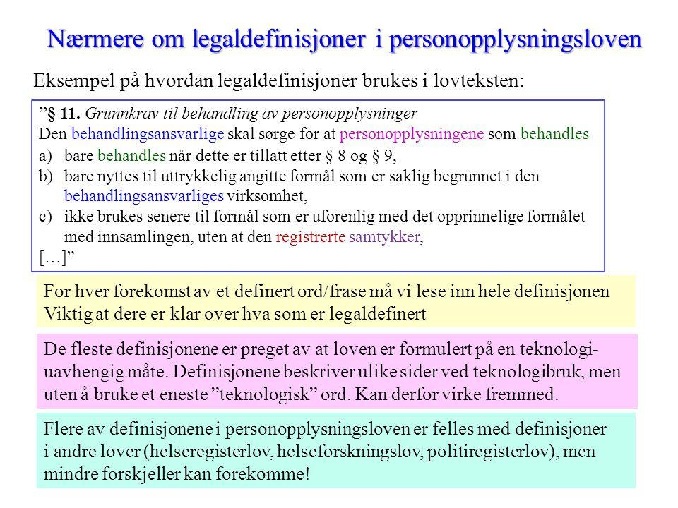 Nærmere om legaldefinisjoner i personopplysningsloven