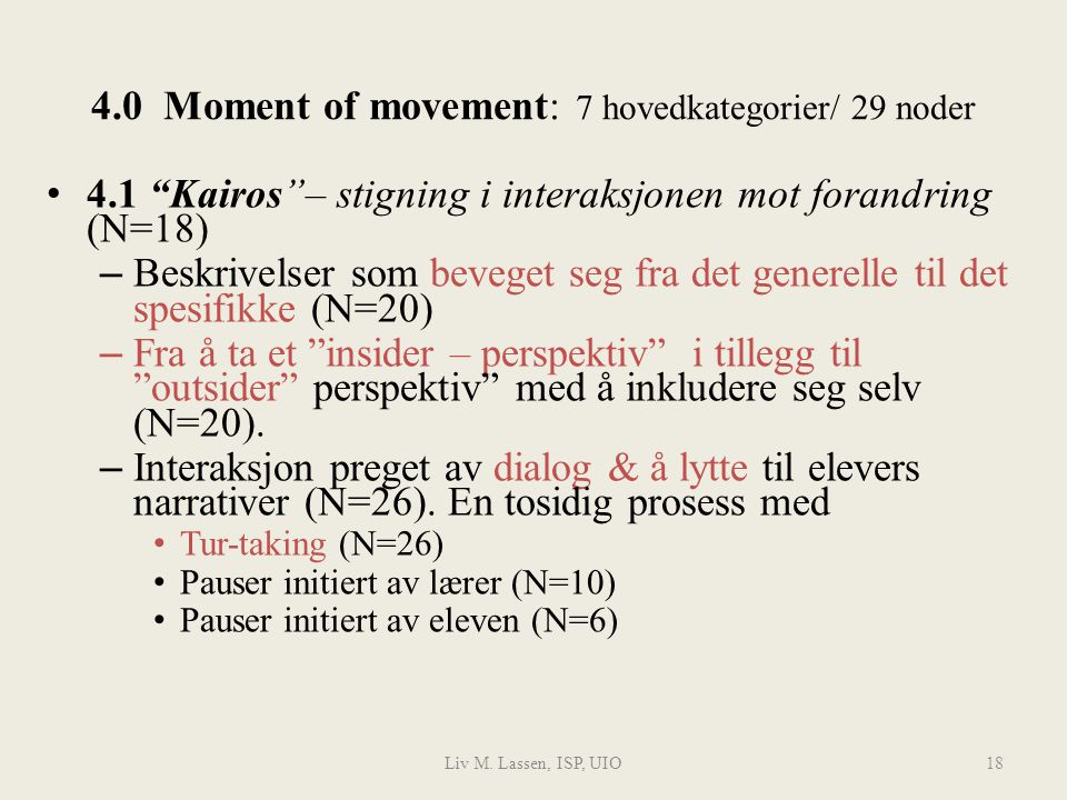 4.0 Moment of movement: 7 hovedkategorier/ 29 noder