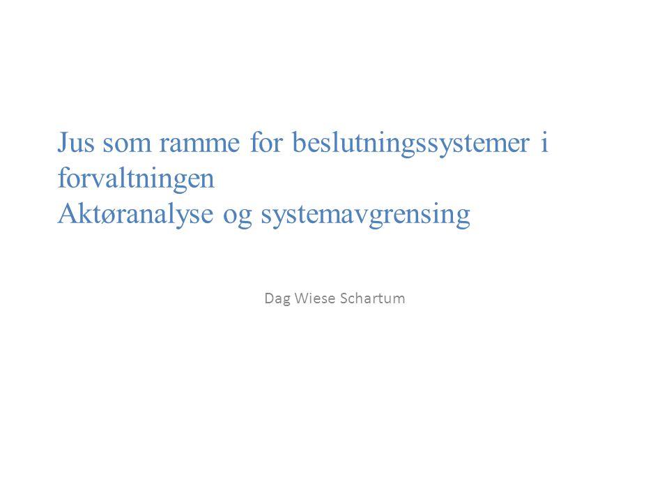 Jus som ramme for beslutningssystemer i forvaltningen Aktøranalyse og systemavgrensing