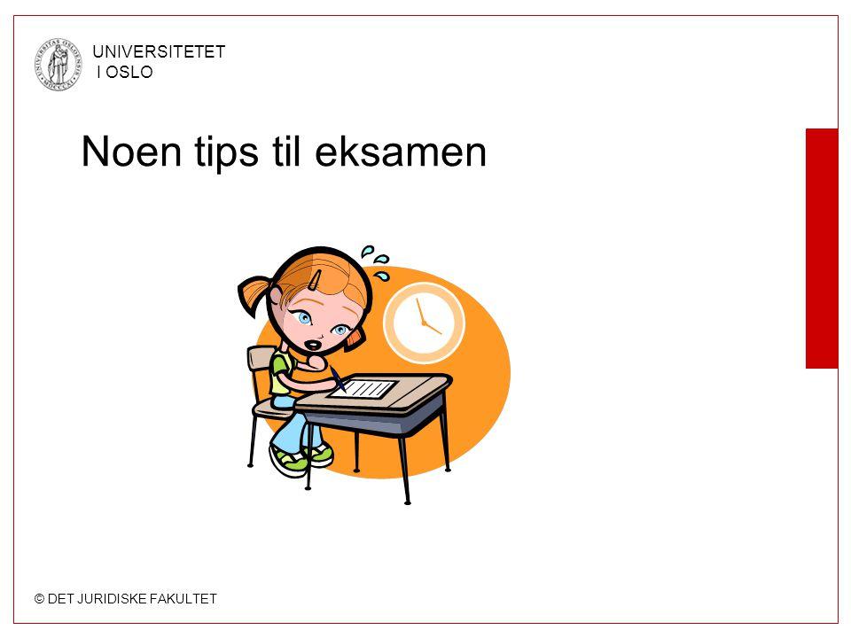 Noen tips til eksamen