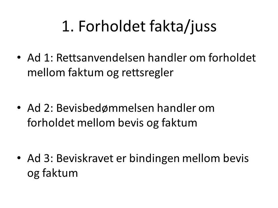 1. Forholdet fakta/juss Ad 1: Rettsanvendelsen handler om forholdet mellom faktum og rettsregler.