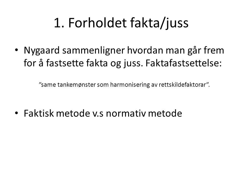 1. Forholdet fakta/juss Nygaard sammenligner hvordan man går frem for å fastsette fakta og juss. Faktafastsettelse: