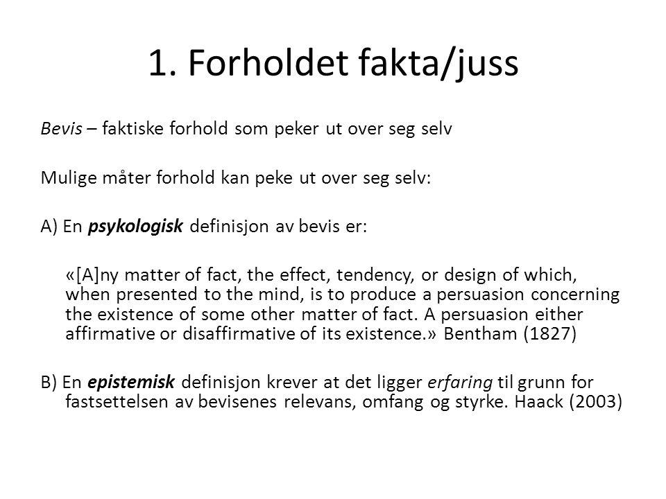 1. Forholdet fakta/juss Bevis – faktiske forhold som peker ut over seg selv. Mulige måter forhold kan peke ut over seg selv: