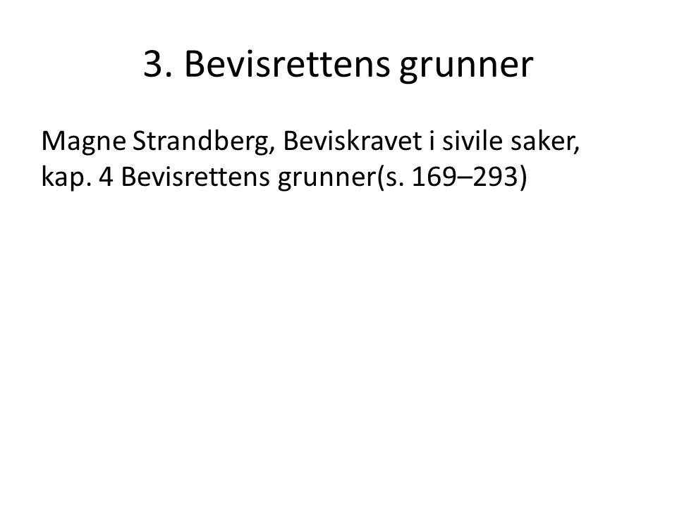 3. Bevisrettens grunner Magne Strandberg, Beviskravet i sivile saker, kap.