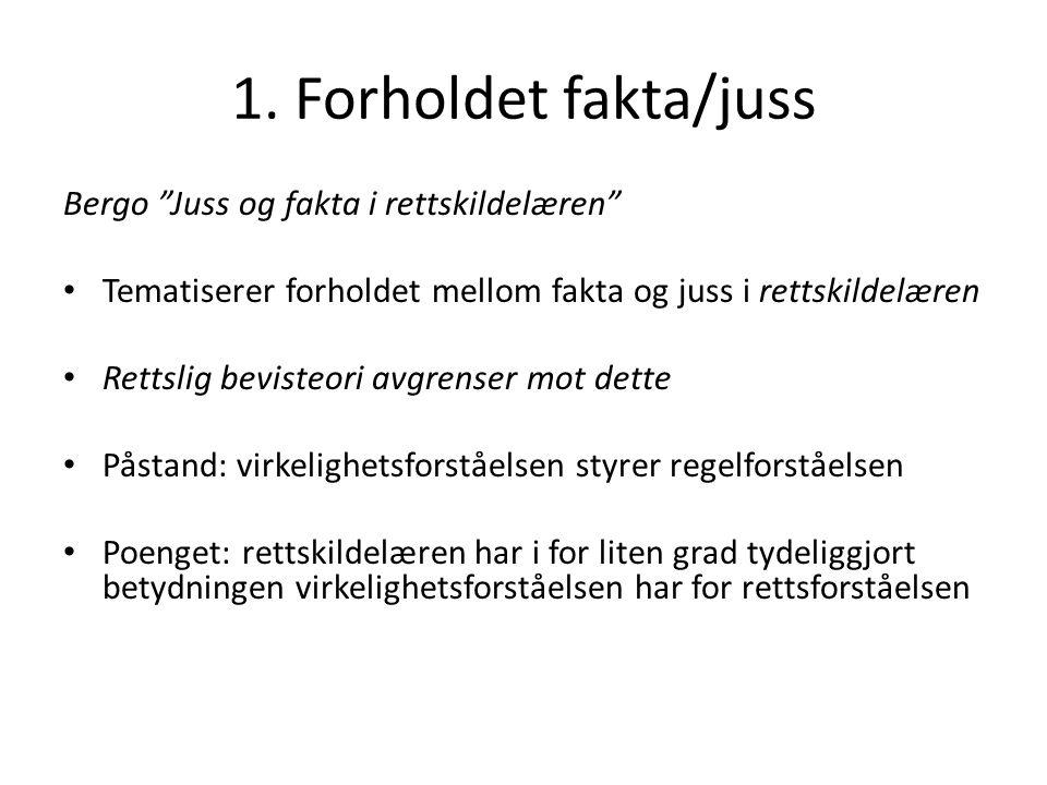 1. Forholdet fakta/juss Bergo Juss og fakta i rettskildelæren