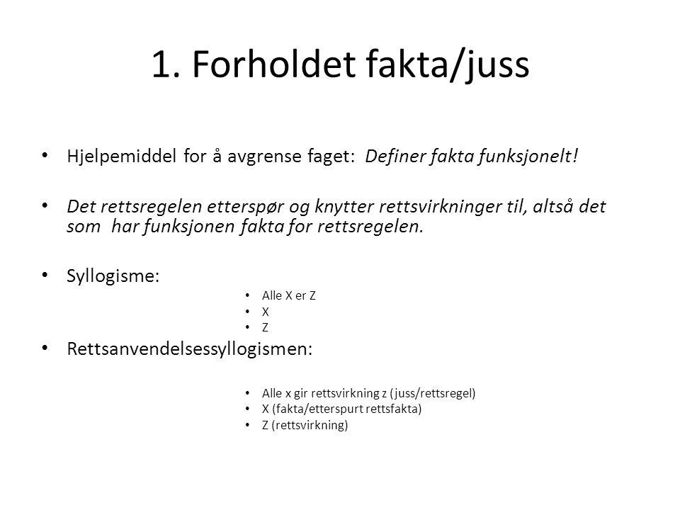 1. Forholdet fakta/juss Hjelpemiddel for å avgrense faget: Definer fakta funksjonelt!