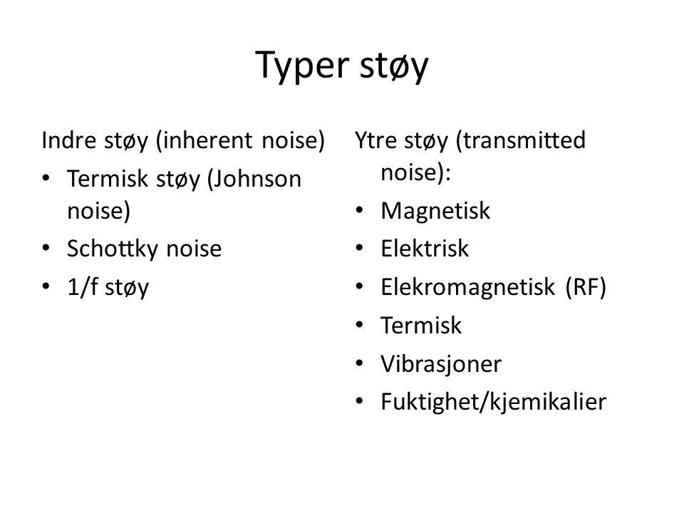 Typer støy Indre støy (inherent noise) Termisk støy (Johnson noise)