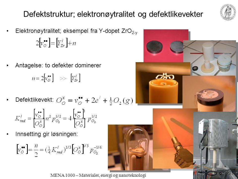 Defektstruktur; elektronøytralitet og defektlikevekter