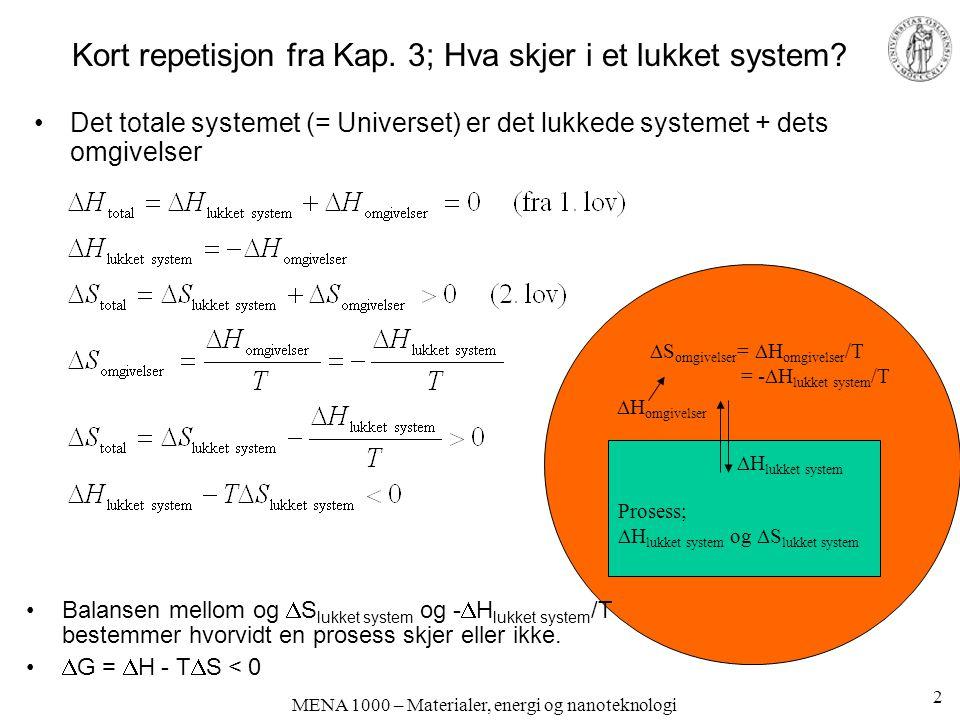 Kort repetisjon fra Kap. 3; Hva skjer i et lukket system