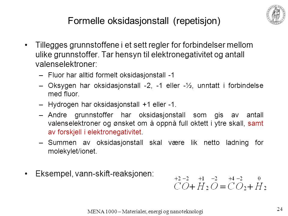 Formelle oksidasjonstall (repetisjon)
