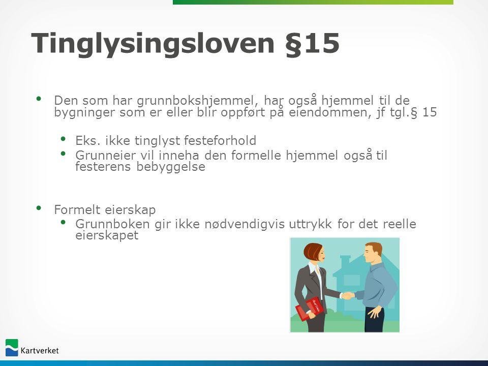 Tinglysingsloven §15 Den som har grunnbokshjemmel, har også hjemmel til de bygninger som er eller blir oppført på eiendommen, jf tgl.§ 15.