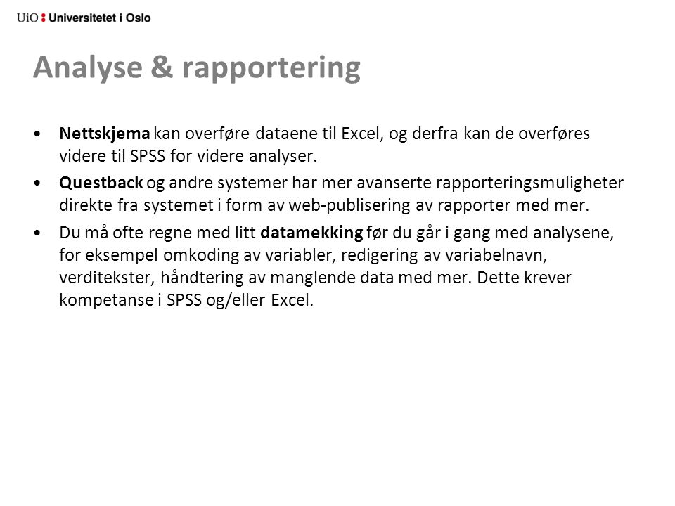 Analyse & rapportering