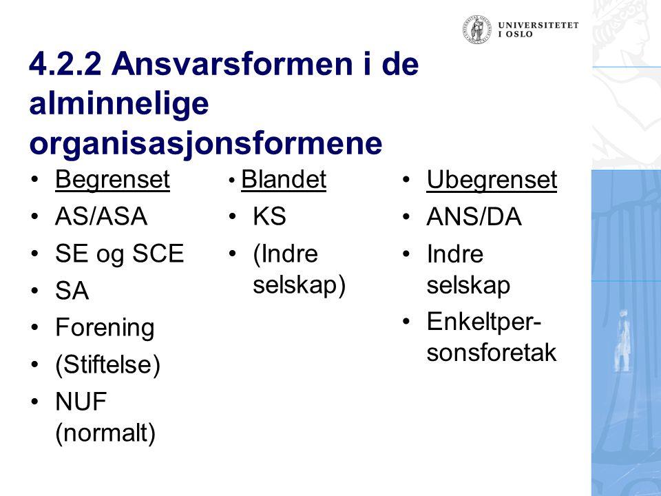 4.2.2 Ansvarsformen i de alminnelige organisasjonsformene