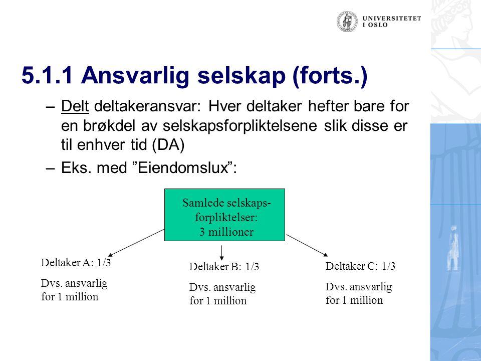 5.1.1 Ansvarlig selskap (forts.)