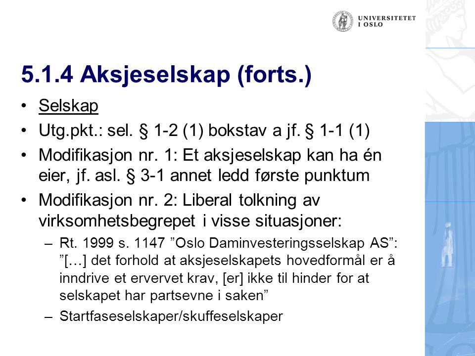5.1.4 Aksjeselskap (forts.) Selskap