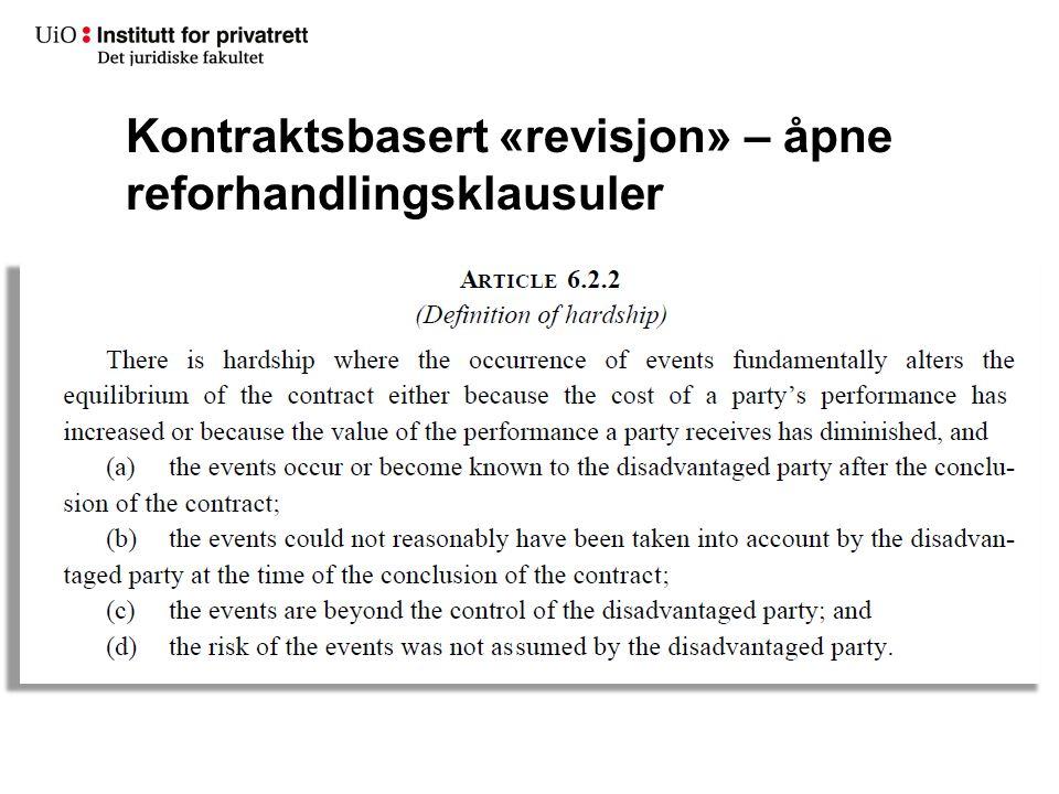 Kontraktsbasert «revisjon» – åpne reforhandlingsklausuler