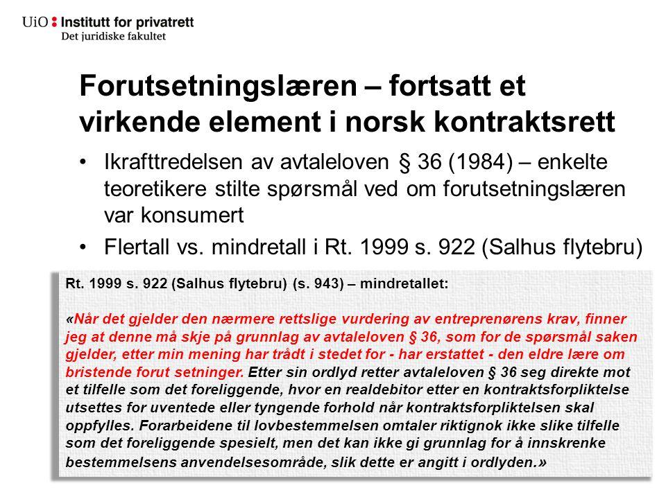 Forutsetningslæren – fortsatt et virkende element i norsk kontraktsrett