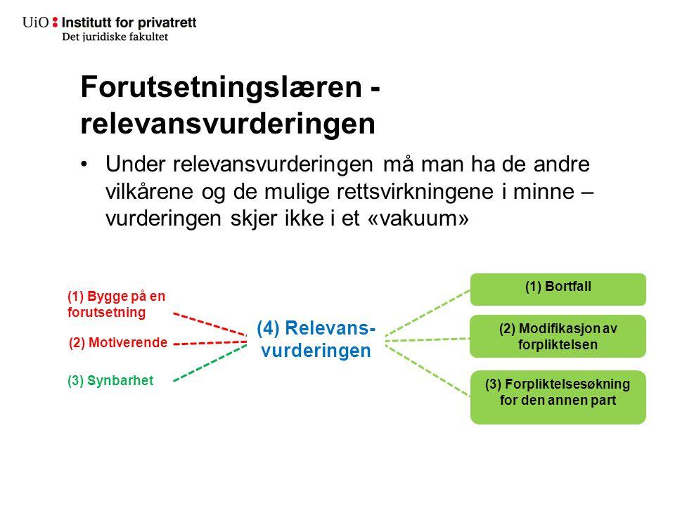 Forutsetningslæren - relevansvurderingen