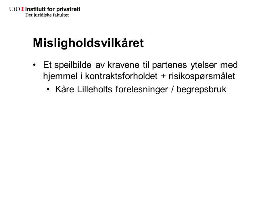 Misligholdsvilkåret Et speilbilde av kravene til partenes ytelser med hjemmel i kontraktsforholdet + risikospørsmålet.