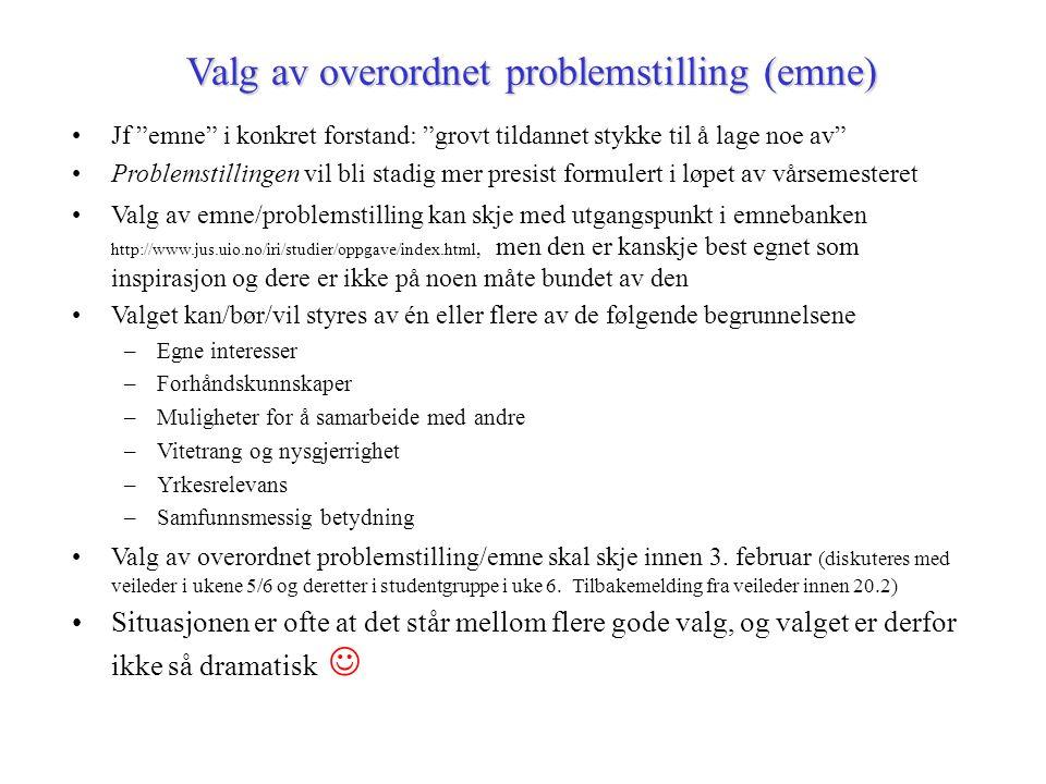 Valg av overordnet problemstilling (emne)