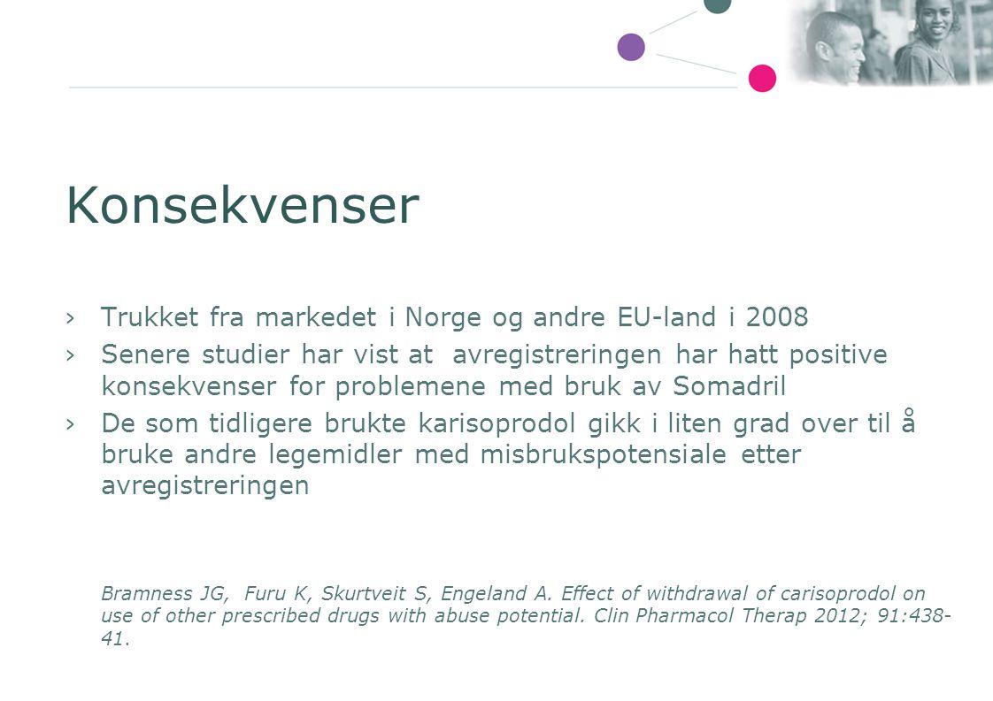 Konsekvenser Trukket fra markedet i Norge og andre EU-land i 2008