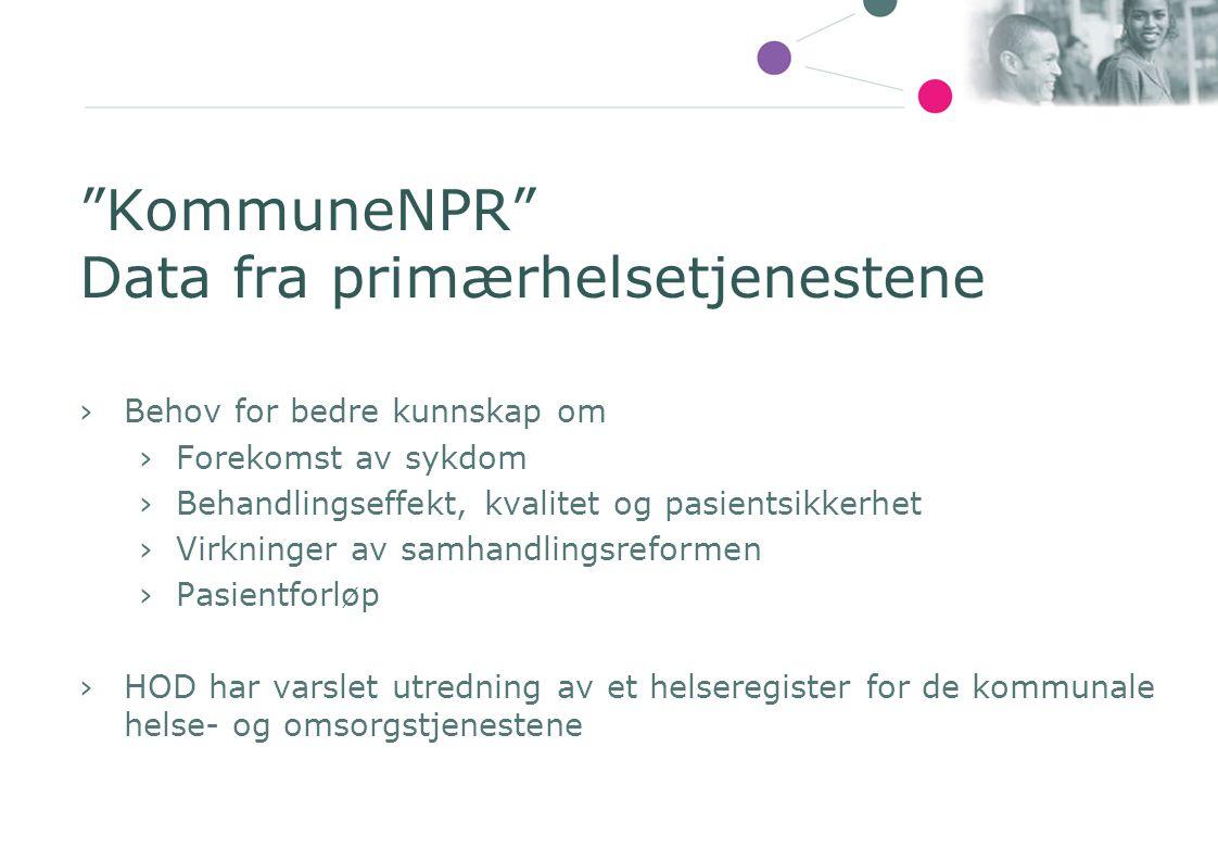 KommuneNPR Data fra primærhelsetjenestene