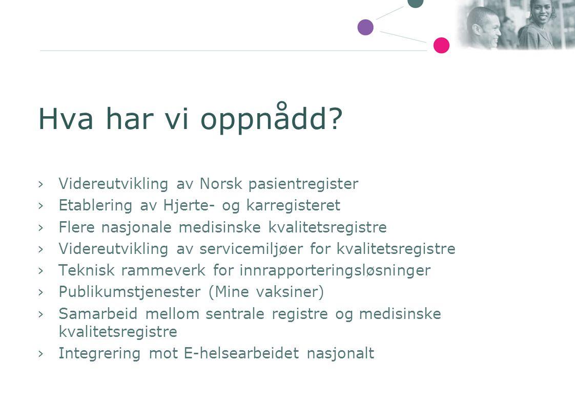 Hva har vi oppnådd Videreutvikling av Norsk pasientregister