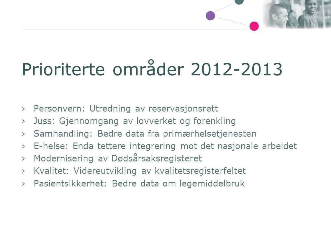 Prioriterte områder 2012-2013 Personvern: Utredning av reservasjonsrett. Juss: Gjennomgang av lovverket og forenkling.
