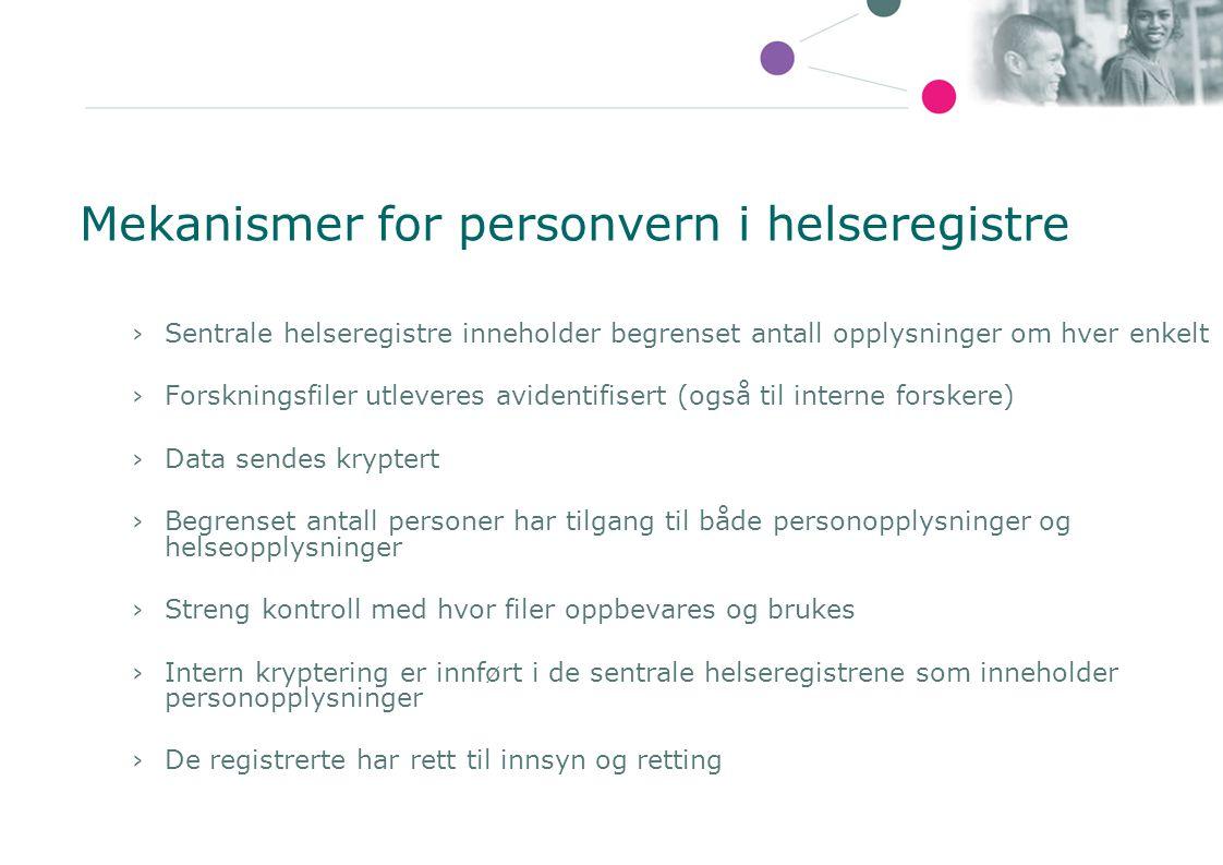 Mekanismer for personvern i helseregistre