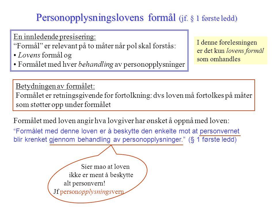 Personopplysningslovens formål (jf. § 1 første ledd)