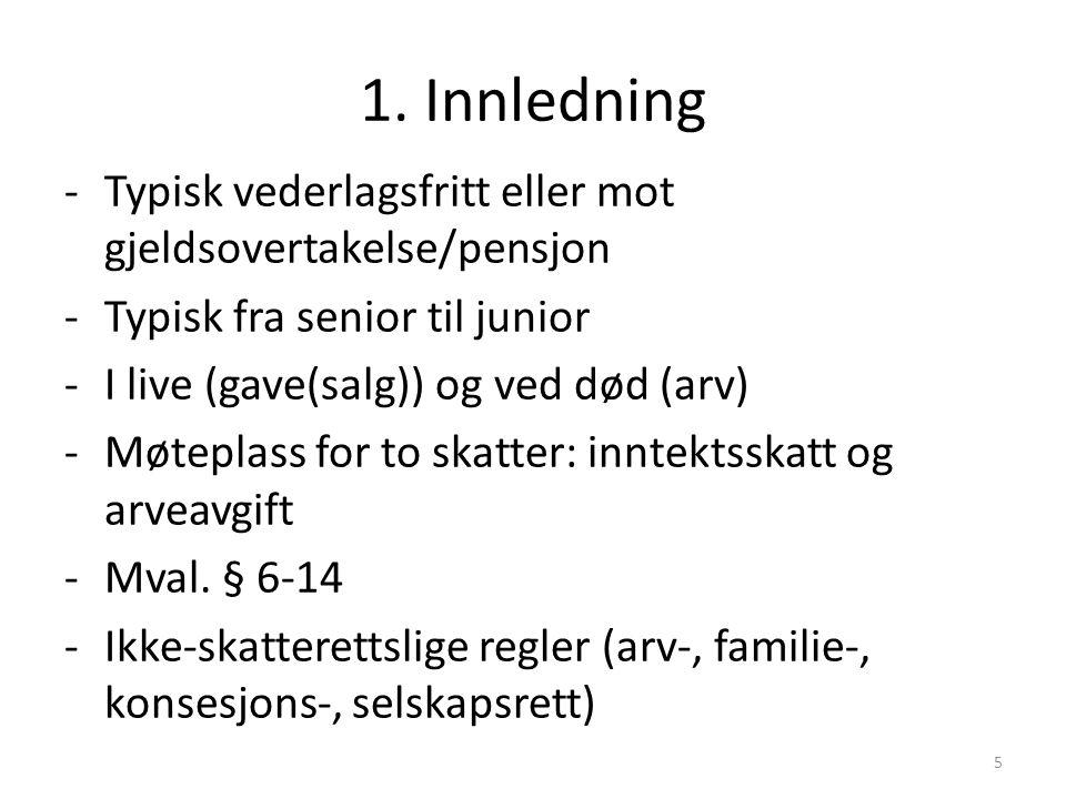 1. Innledning Typisk vederlagsfritt eller mot gjeldsovertakelse/pensjon. Typisk fra senior til junior.
