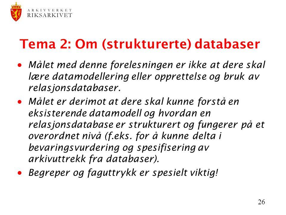 Tema 2: Om (strukturerte) databaser