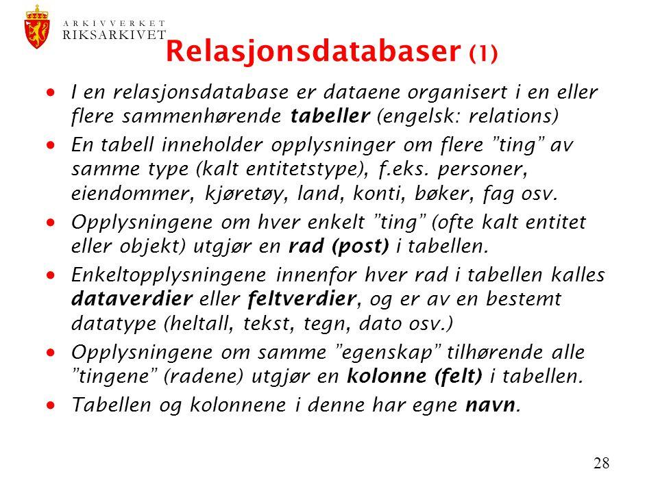 Relasjonsdatabaser (1)