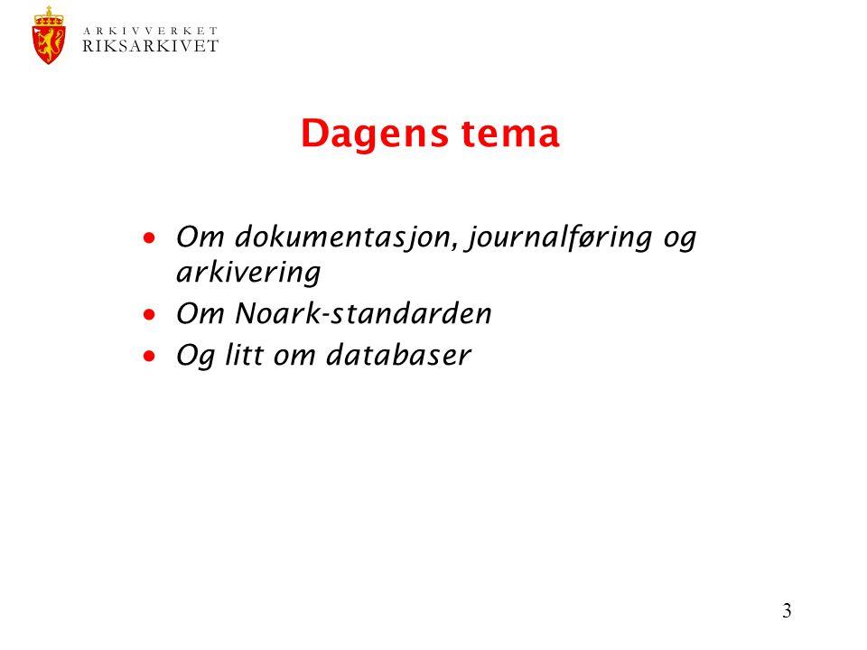 Dagens tema Om dokumentasjon, journalføring og arkivering