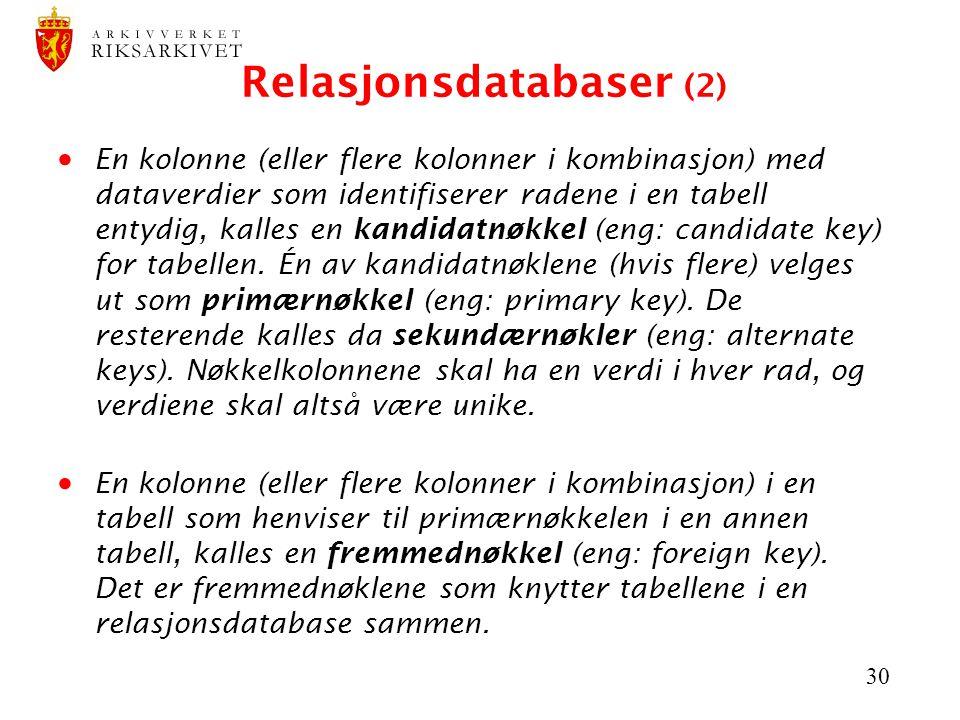 Relasjonsdatabaser (2)