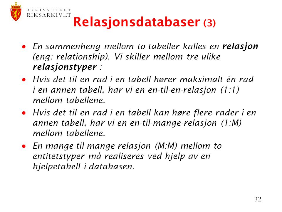Relasjonsdatabaser (3)