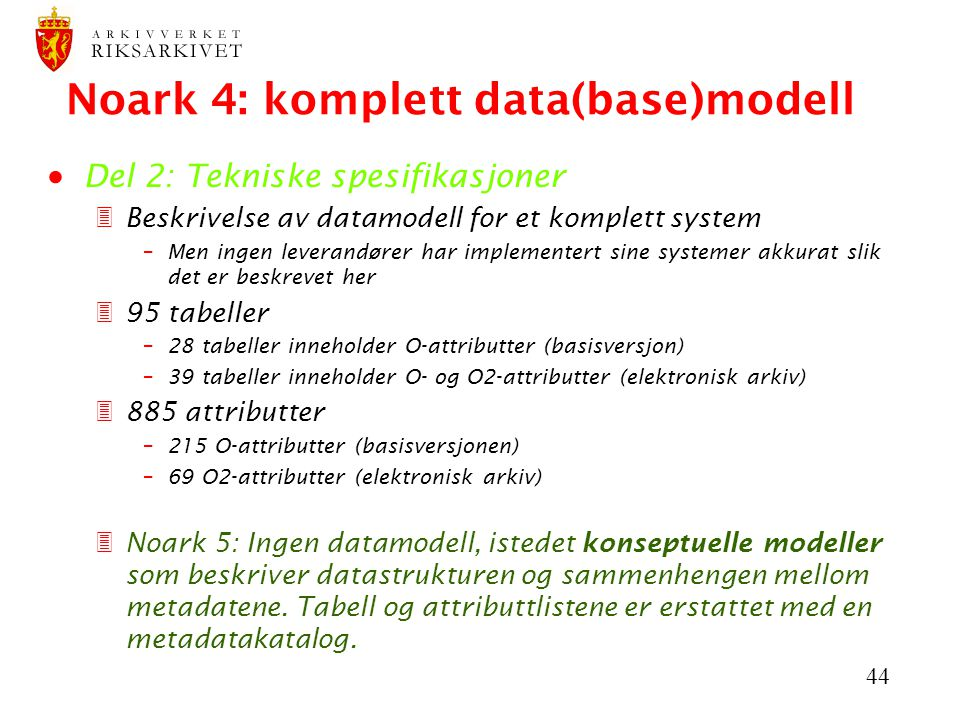 Noark 4: komplett data(base)modell