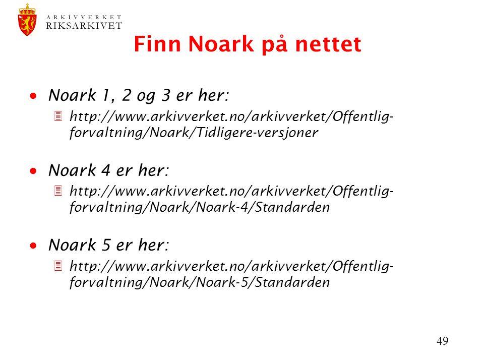 Finn Noark på nettet Noark 1, 2 og 3 er her: Noark 4 er her: