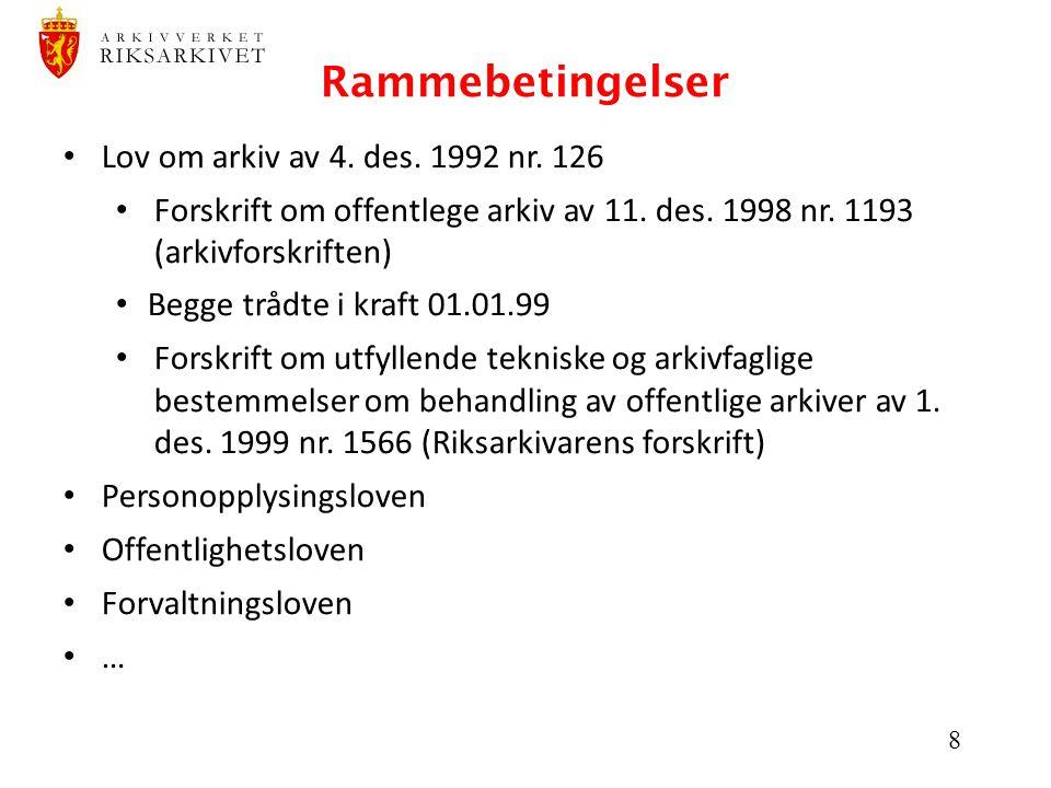 Rammebetingelser Lov om arkiv av 4. des. 1992 nr. 126