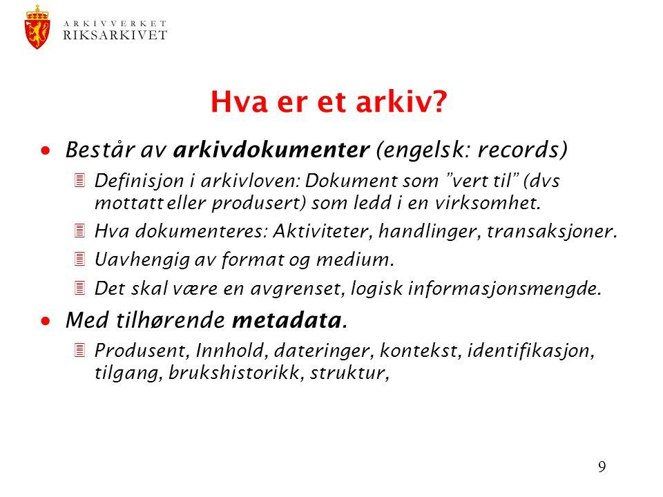 Hva er et arkiv Består av arkivdokumenter (engelsk: records)