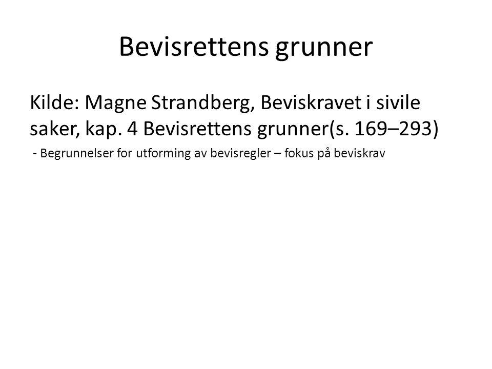 Bevisrettens grunner Kilde: Magne Strandberg, Beviskravet i sivile saker, kap. 4 Bevisrettens grunner(s. 169–293)