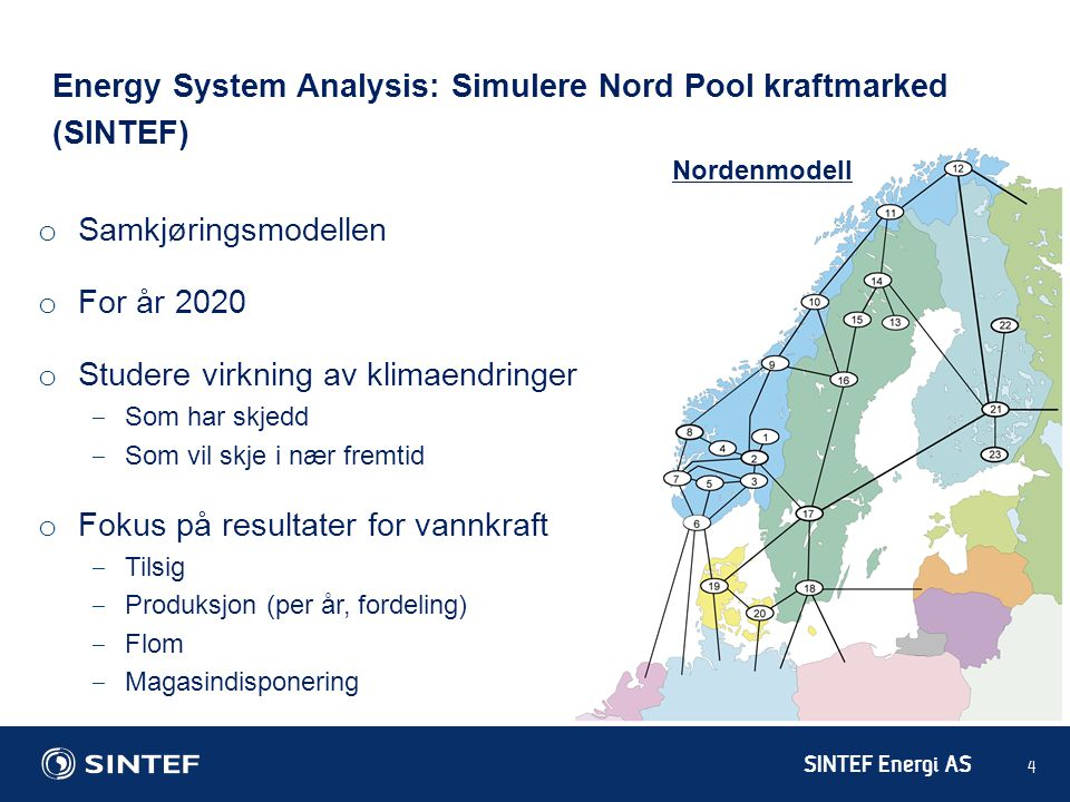 Energy System Analysis: Simulere Nord Pool kraftmarked (SINTEF)