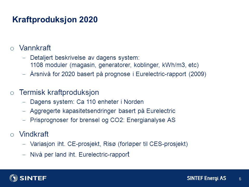 Kraftproduksjon 2020 Vannkraft Termisk kraftproduksjon Vindkraft