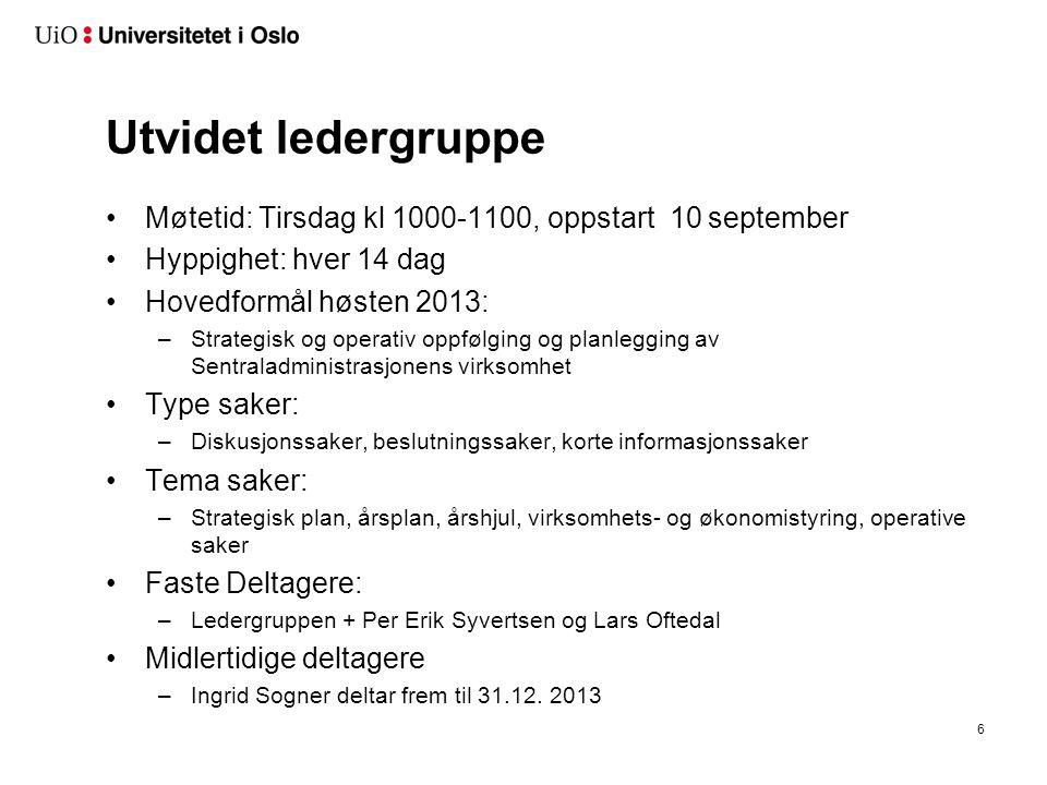 Utvidet ledergruppe Møtetid: Tirsdag kl 1000-1100, oppstart 10 september. Hyppighet: hver 14 dag.